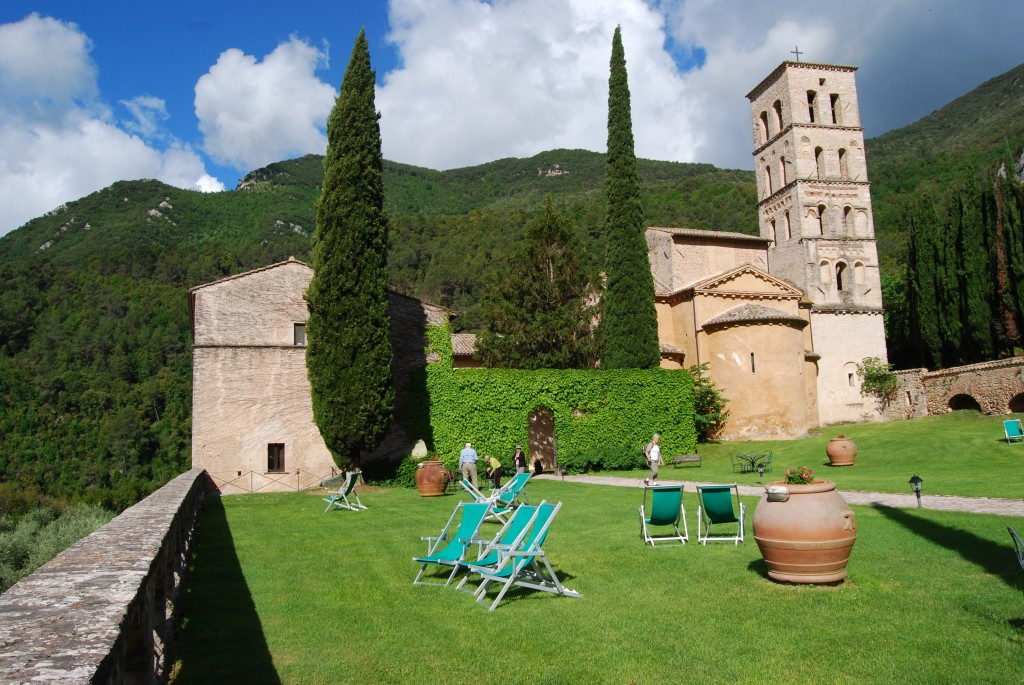 Grounds outside the Abbey of S Pietro in Valle, Umbria Italy